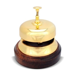 CAMPANELLO DA BANCO   dorato base legno