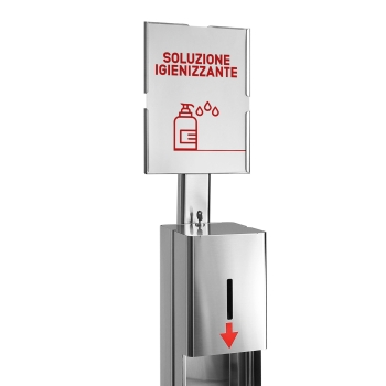 cartello dispenser pedale disinfettante mani