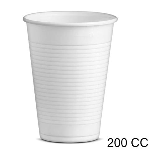 bicchiere 200 cc   plastica bianca